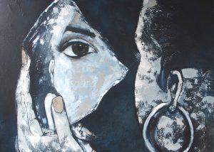Ingrid Studer Fineart | Portraits | Spieglein, Spieglein in der Hand 80x100cm